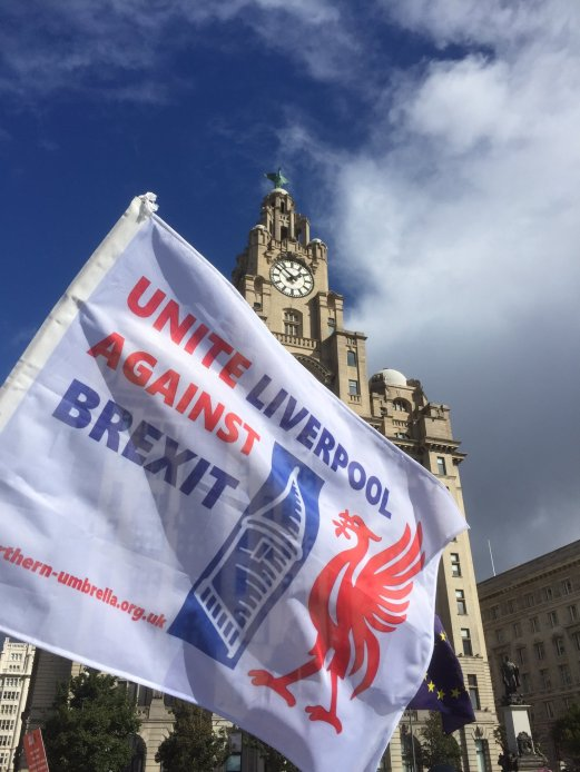 brexit march flag liver building